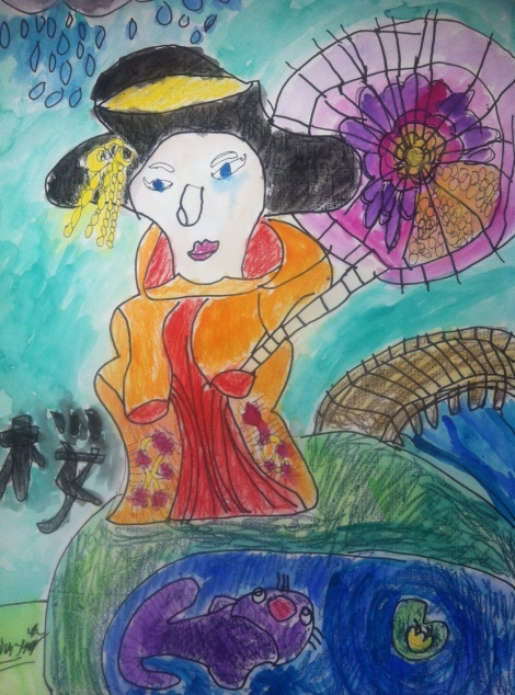Bradley's painting of a traditional Japanese Geisha
